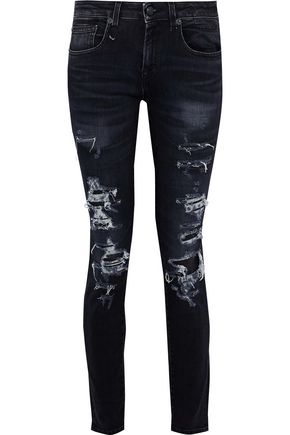 R13 Alison distressed low-rise skinny jeans