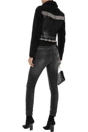 R13 Cropped distressed mid-rise skinny jeans