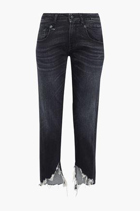 R13 Distressed mid-rise straight-leg jeans
