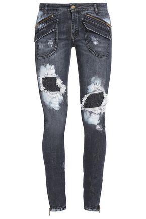 JUST CAVALLI Distressed mid-rise skinny jeans