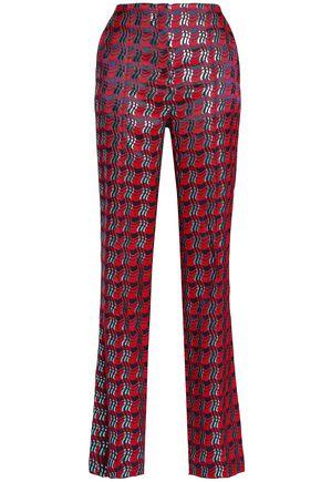 DIANE VON FURSTENBERG Metallic-jacquard slim-leg pants