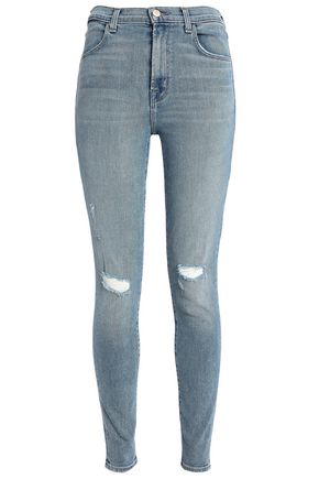 J BRAND Maria distressed high-rise skinny jeans