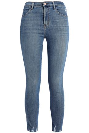 J BRAND Distressed faded high-rise skinny jeans
