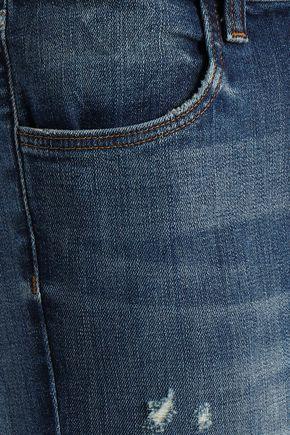 J BRAND Distressed faded high-rise slim-leg jeans