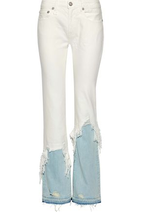 R13 Distressed two-tone mid-rise straight-leg jeans