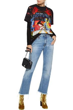 R13 Frayed mid-rise straight-leg jeans