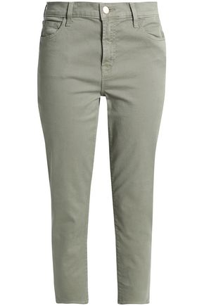 J BRAND Cropped cotton-blend twill slim-leg pants