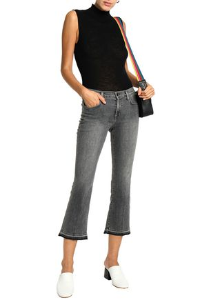 J BRAND Cropped distressed mid-rise bootcut jeans