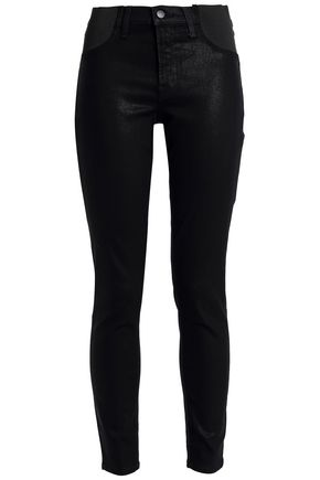 Coated Mid Rise Skinny Jeans by J Brand