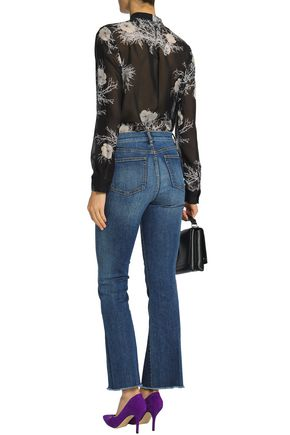 TORY BURCH Frayed faded mid-rise bootcut jeans