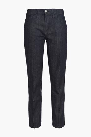 TORY BURCH Velvet-trimmed mid-rise straight-leg jeans