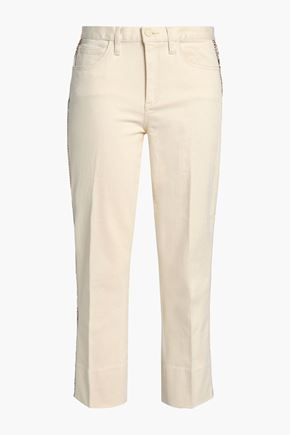 TORY BURCH Embellished embroidered mid-rise straight-leg jeans