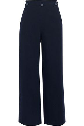 GREY JASON WU Button-detailed cotton-blend twill wide-leg pants