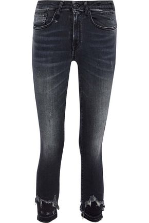 R13 Jenny distressed mid-rise skinny jeans