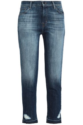 J BRAND Ruby cropped distressed high-rise slim-leg jeans
