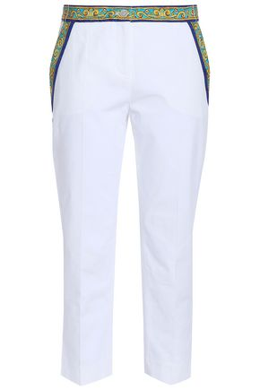 DOLCE & GABBANA Cropped cotton-blend jacquard tapered pants
