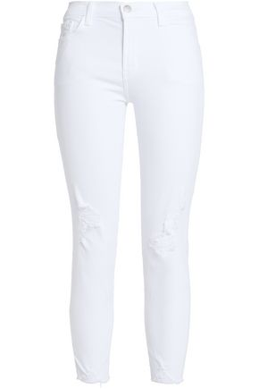 J BRAND Debutante cropped distressed mid-rise skinny jeans