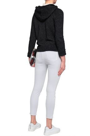 J BRAND Cropped coated mid-rise skinny jeans