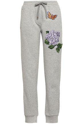 DOLCE & GABBANA Appliquéd mélange cotton-blend track pants