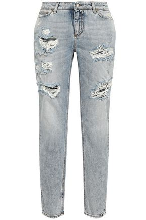 DOLCE & GABBANA Distressed mid-rise slim-leg jeans