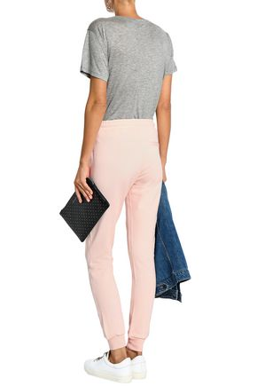 ZOE KARSSEN Embroidered French cotton-terry track pants