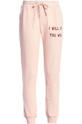 ZOE KARSSEN Embroidered cotton track pants