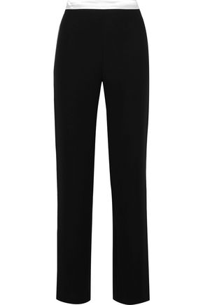 LANVIN Satin-trimmed crepe straight-leg pants
