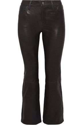 J BRAND Cropped stretch-leather bootcut pants