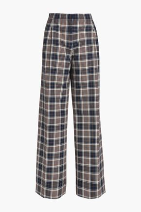 TORY BURCH Checked woven wide-leg pants