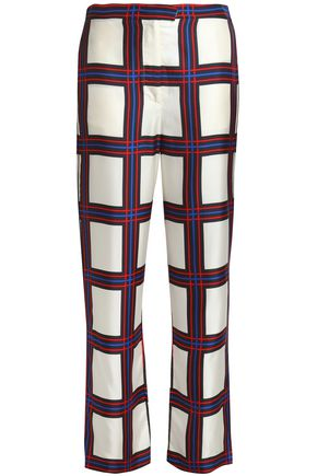 TORY BURCH Checked silk-twill straight-leg pants