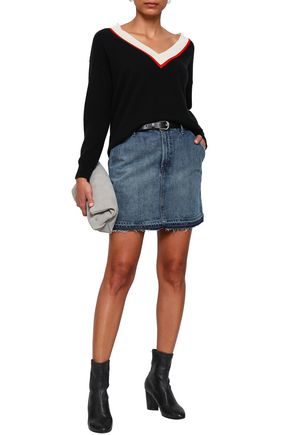 J BRAND Frayed denim mini skirt