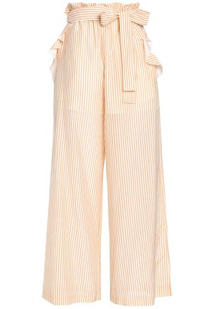 NICHOLAS Striped cotton and silk-blend wide-leg pants