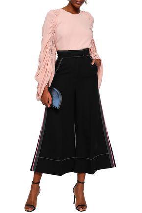 ROKSANDA Striped wool, silk and cotton-crepe culottes
