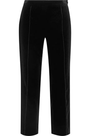LANVIN Cropped cotton-velvet tapered pants