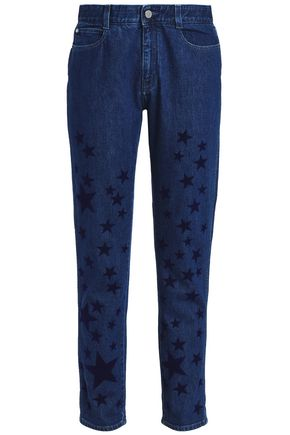 STELLA McCARTNEY Flocked high-rise straight-leg jeans