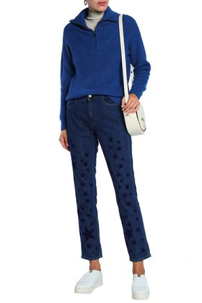 STELLA McCARTNEY Flocked high-rise straight-leg jeans