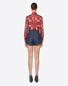Blue Denim Shorts with Gold V Detail
