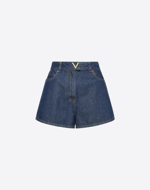 Blue Denim Shorts with Gold V Detail