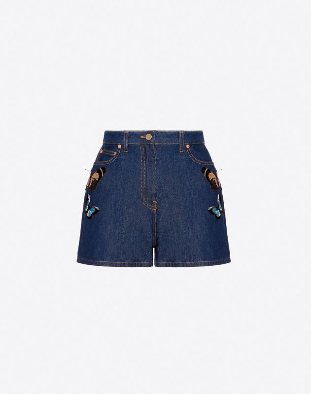 Blue Denim Shorts with Embroidered Butterflies