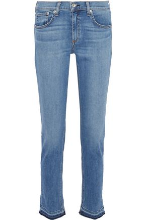 RAG & BONE Dre frayed mid-rise slim-leg jeans