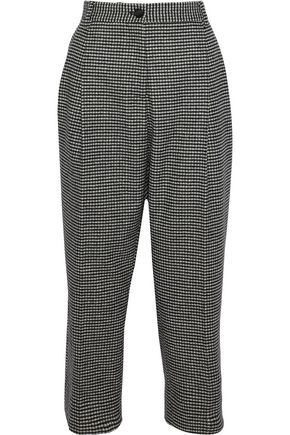 DOLCE & GABBANA Houndstooth wool-blend flannel straight-leg pants