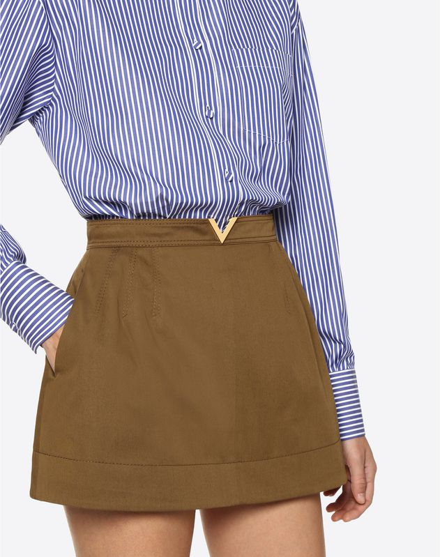 Stretch Cotton Gabardine Shorts with Gold V Belt