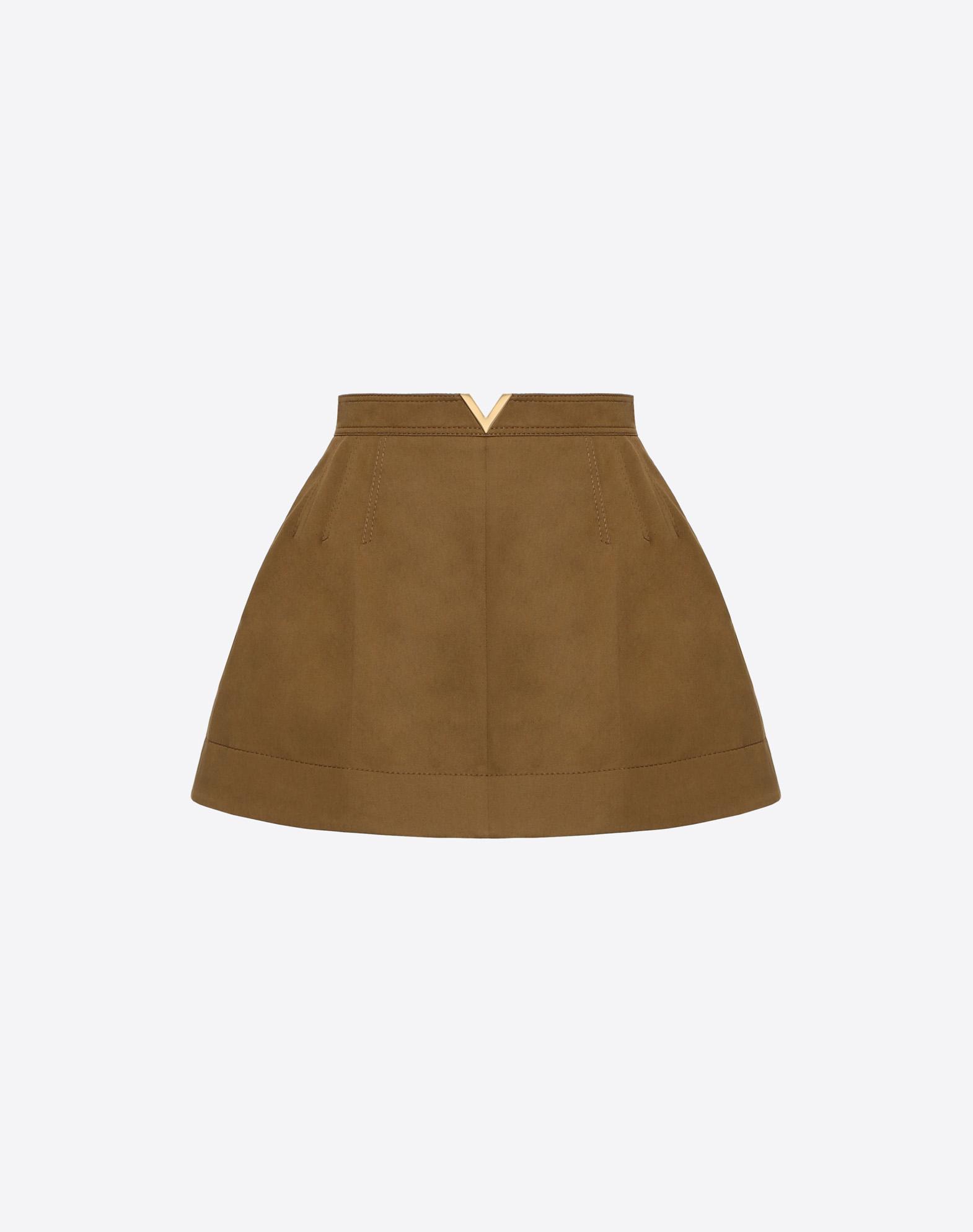 Stretch Cotton Gabardine Shorts with Gold V Belt