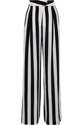 MICHELLE MASON Pleated printed silk crepe de chine wide-leg pants
