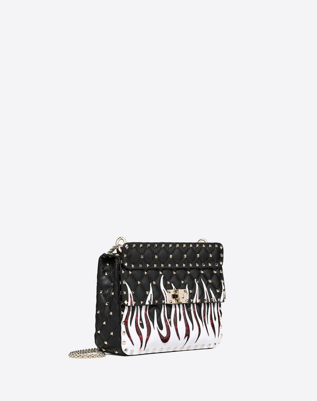 Medium flames embroidery Rockstud Spike.it Bag