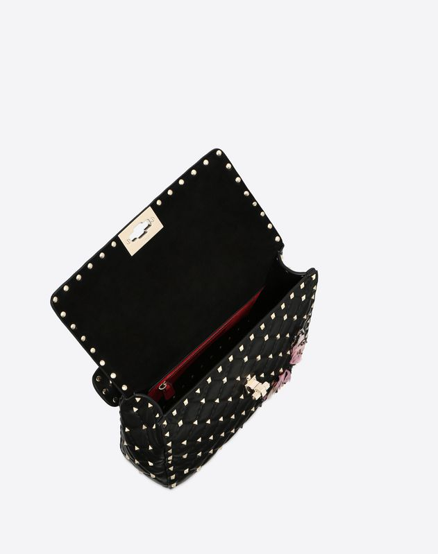 Bolso mediano Rockstud Spike.it con mariposas bordadas