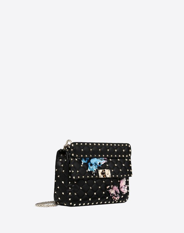 Medium butterflies embroidery Rockstud Spike.it Bag