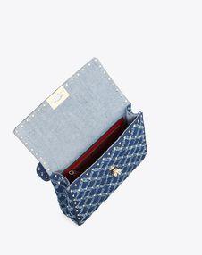 Medium Denim Rockstud Spike Bag