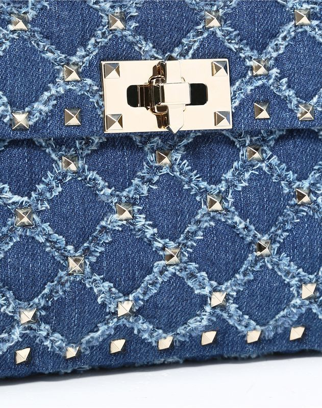 Medium Denim Rockstud Spike Bag