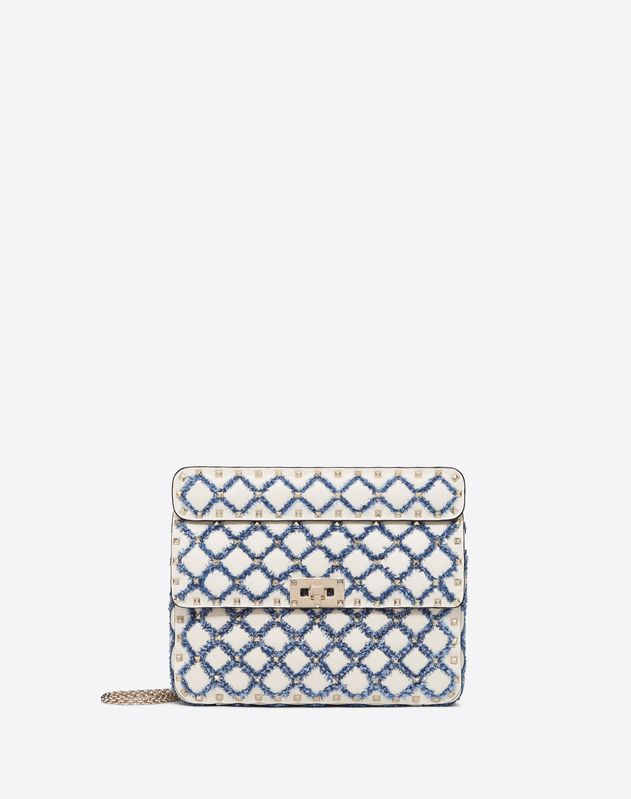 Medium Rockstud Spike Bag with denim detail